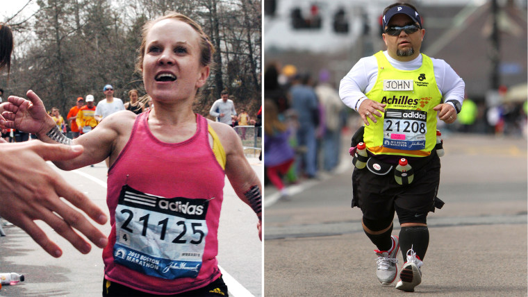 Juli Windsor, left, and John Young, right, will return to the Boston Marathon this year.