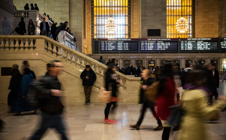NEW YORK, NY - MARCH 10:  Commuters make their way through Grand Central Terminal during evening rush hour on March 10, 2014 in New York City. New sta...