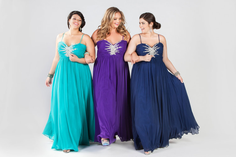 Women modeling plus size prom dresses from Sydney's Closet, a company that designs and manufactures prom dresses up to size 40.