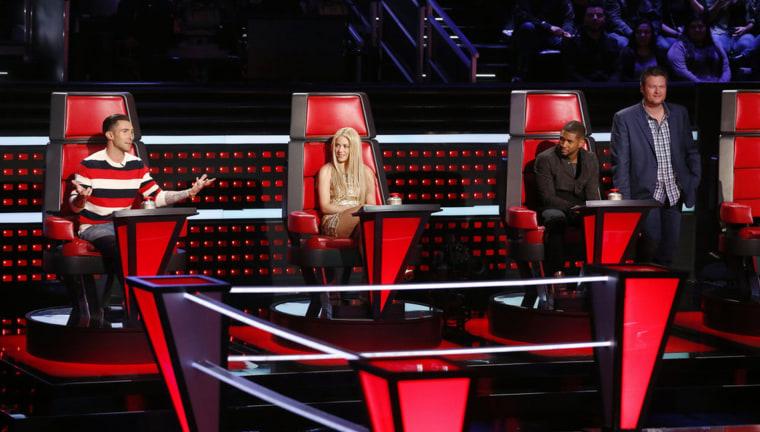 Image: dam Levine, Shakira, Usher, Blake Shelton
