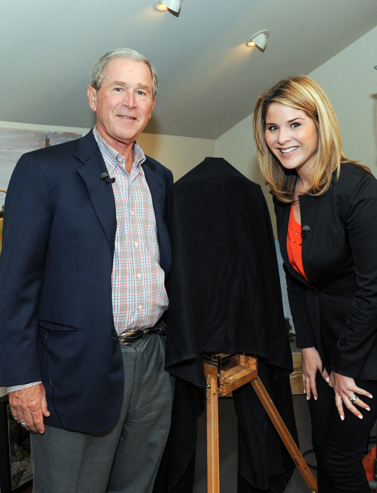 Some of George W. Bush's paintings will be unveiled for the first time on TODAY Friday during his interview with his daughter.