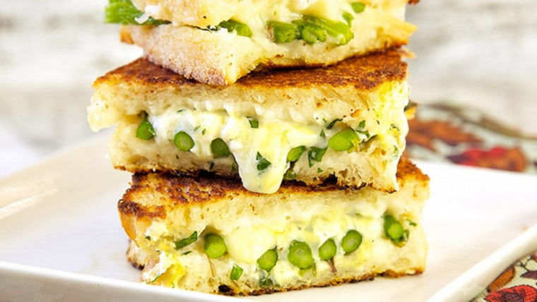 Roasted asparagus and grilled cheese sandwiches