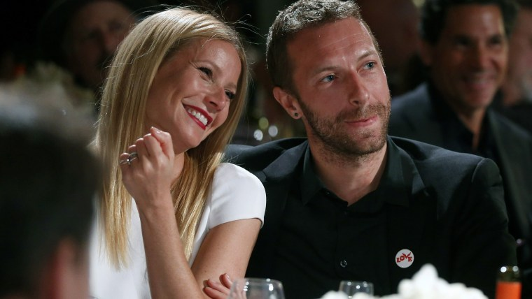 Gwyneth Paltrow, left, and her husband, singer Chris Martin, in happier times.