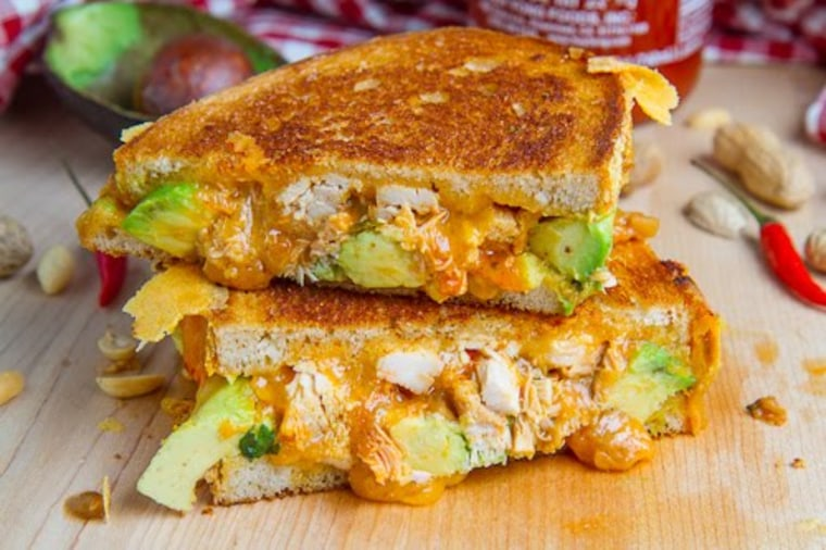 Spicy peanut chicken grilled cheese