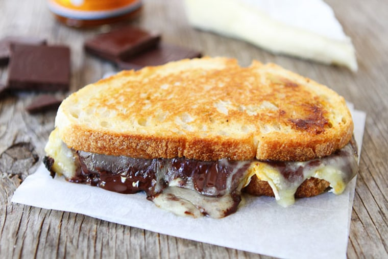 Chocolate, pumpkin butter and Brie grilled cheese