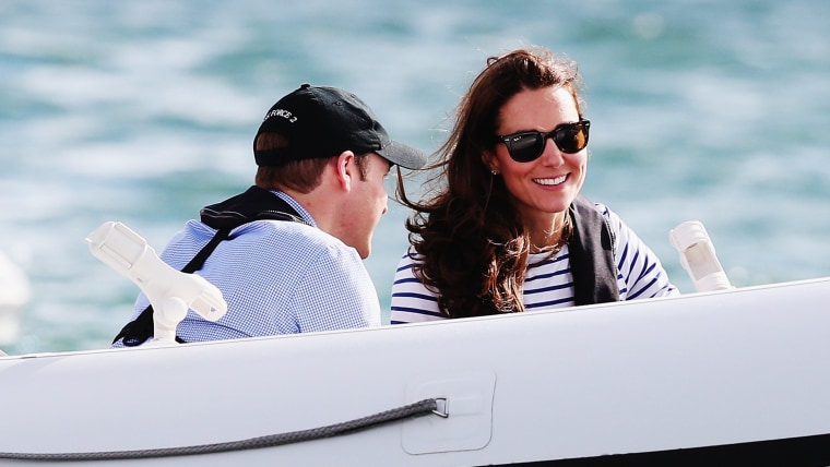 AUCKLAND, NEW ZEALAND - APRIL 11:  Catherine, Duchess of Cambridge and Prince William, Duke of Cambridge are taken out on a Sealegs boat after match r...