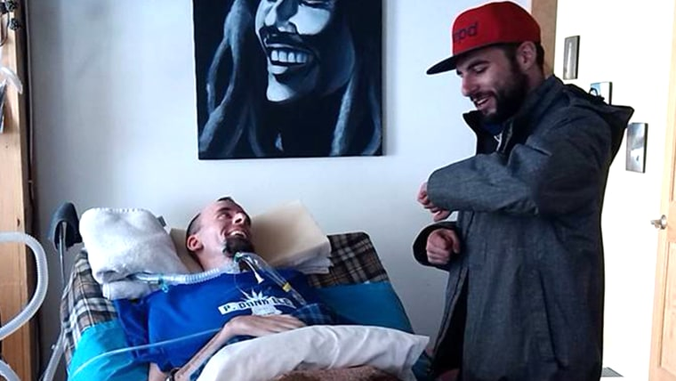 Nick Stanley, who has been bedridden for two years due to spinal cord problems. Musicians have been bringing concerts to his bedside.