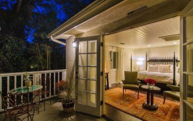 Kate Bosworth's Hollywood Hills home includes an upstairs master bedroom with French doors.