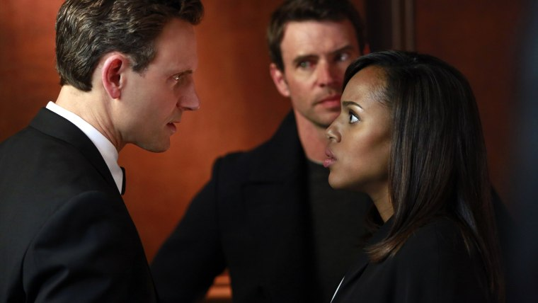 "Kerry Washington, Tony Goldwyn and Scott Foley in a scene from the third season finale of ""Scandal."""