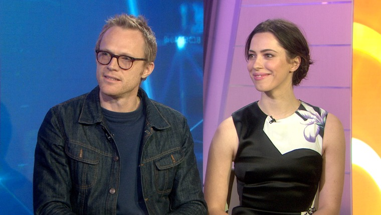 """Paul Bettany and Rebecca Hall promote their new film """"Transcendence"""" on TODAY."""