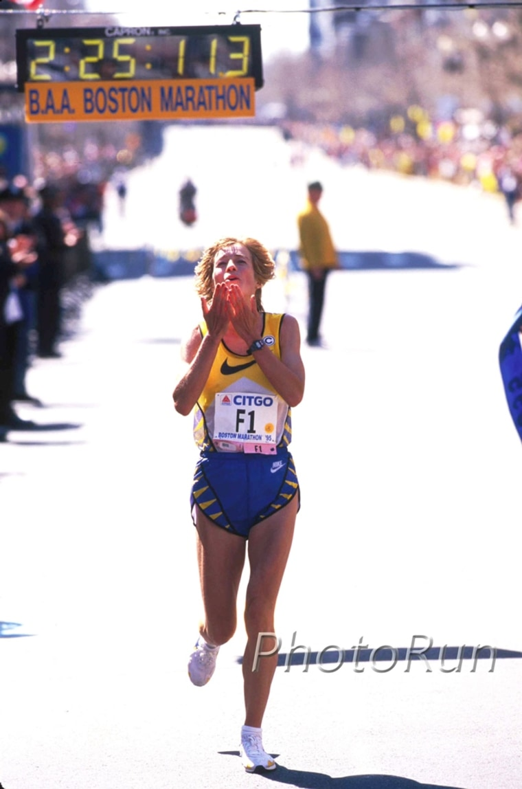 Legendary runner Uta Pippig, winning the Boston Marathon in 1995.