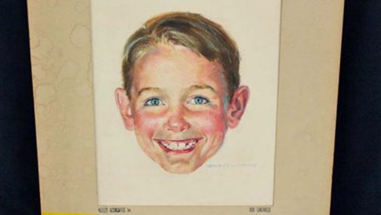 This photo provided by Brookline Auction Gallery of Brookline, N.H., Friday, April 18, 2014, shows a watercolor by Robert Childress and photos of the ...