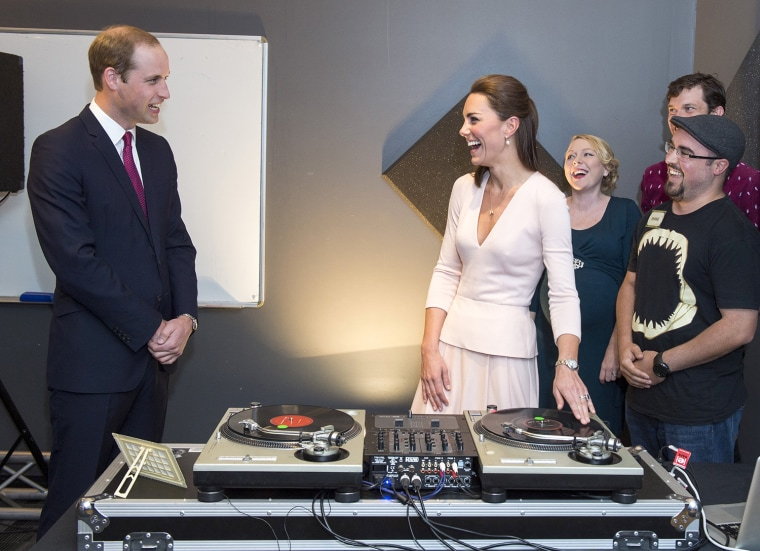 ADELAIDE, AUSTRALIA - APRIL 23:  Catherine, Duchess of Cambridge and Prince William, Duke of Cambridge laugh as they are shown how to play on DJ decks...