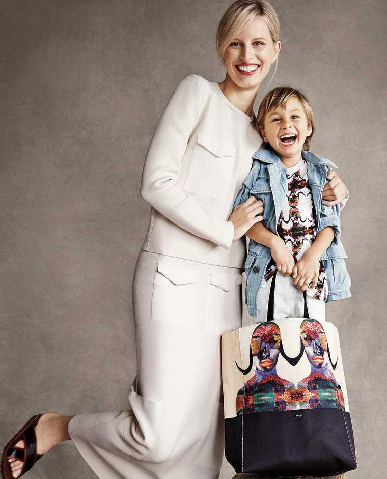 Karolina Kurkova and her son, Tobin, look playful modeling the Born Free collection for Patrick Demarchelier's camera.