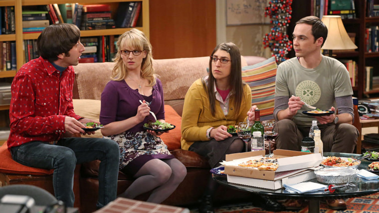 "This image released by CBS shows, from left, Simon Helberg, Melissa Rauch, Mayim Bialik and Jim Parsons in a scene from ""The Big Bang Theory."" CBS say..."