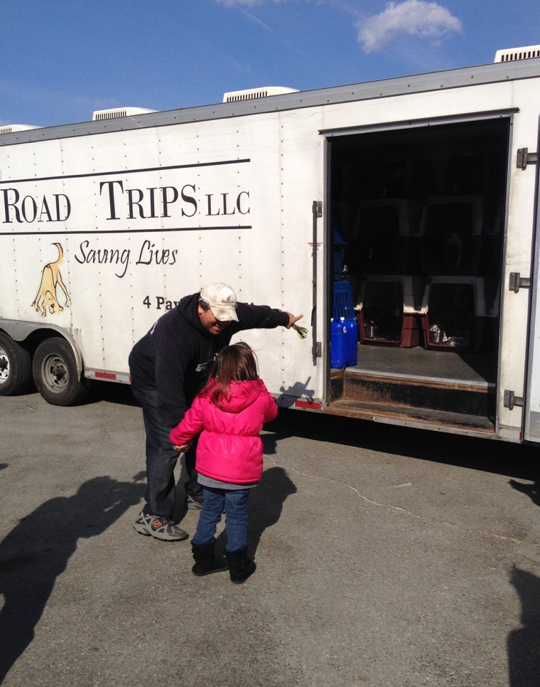Greg Mahle shows Lylia Davies his truck, in which where her rescued pup, Nigel, waits.