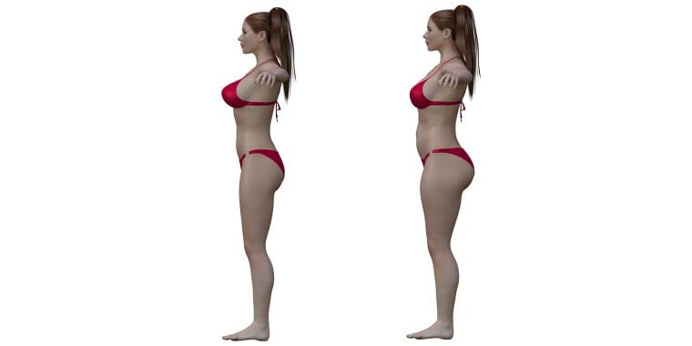 3-D illustration of ideal female body and average female body