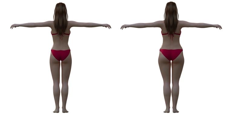 Ideal woman body vs. real woman body.