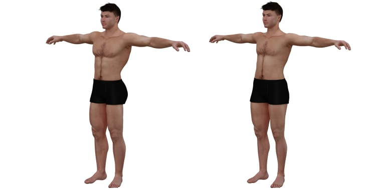 3-D illustration of the ideal male and average male body