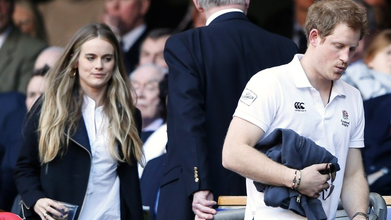 Britain's Prince Harry and Cressida Bonas attend England's Six Nations international rugby union match against Wales at Twickenham in London March 9, ...