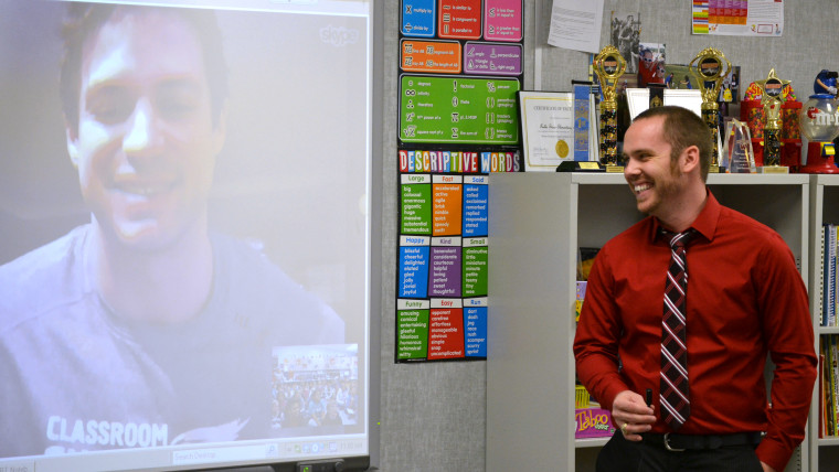 Todd Nesloney, uses Skype to teach in the classroom. This year Nesloney starts his first year as a principal.