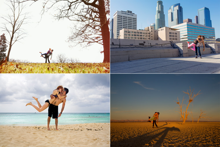 The couple has traveled all over, while documenting their travels with photos of the pose.