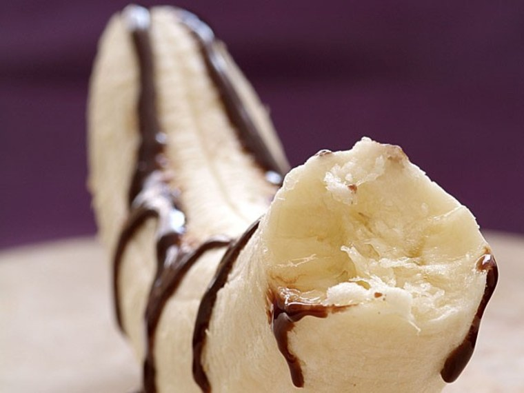 frozen chocolate-drizzled banana