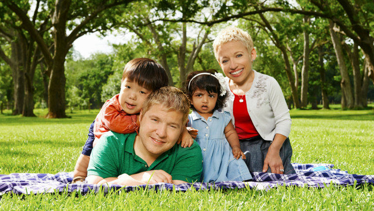 """Bill Klein, second from left, and Jen Arnold, far right, are the stars of """"The Little Couple,"""" whose seventh season premieres Dec. 2. Their children ..."""