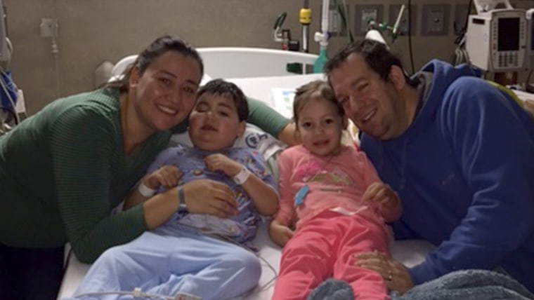 Evan and Dina Lefkowitz with their son Adam and daughter Emily on Thanksgiving Day at Children's Hospital of Philadelphia.