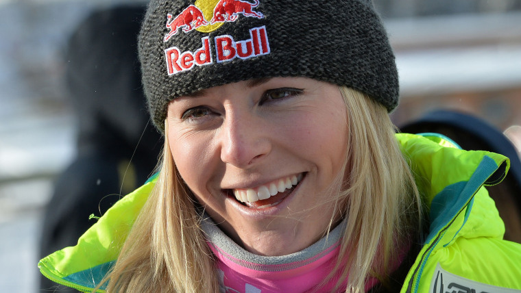 Lindsey Vonn of the US smiles after competing in the first women's downhill training session during the Alpine Skiing FIS World Cup at Lake Louise, Ca...
