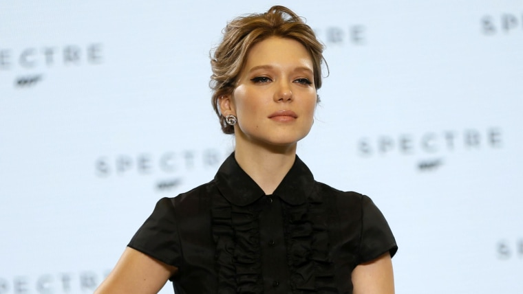 "Actress Lea Seydoux poses on stage during an event to mark the start of production for the new James Bond film ""Spectre."""