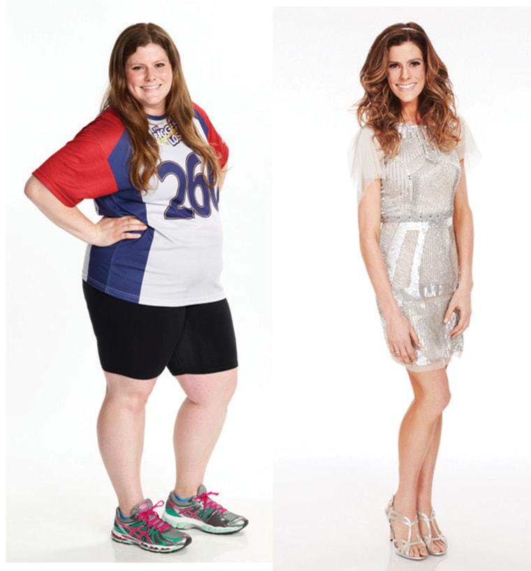 """Rachel Frederickson, before and after her time at """"The Biggest Loser"""" ranch."""