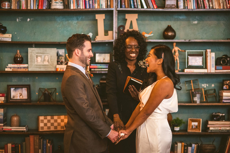 Anthony Carbajal and Laarne Palec held their wedding at Back to the Grind Coffee Shop in Riverside, California, where they went on their first date.