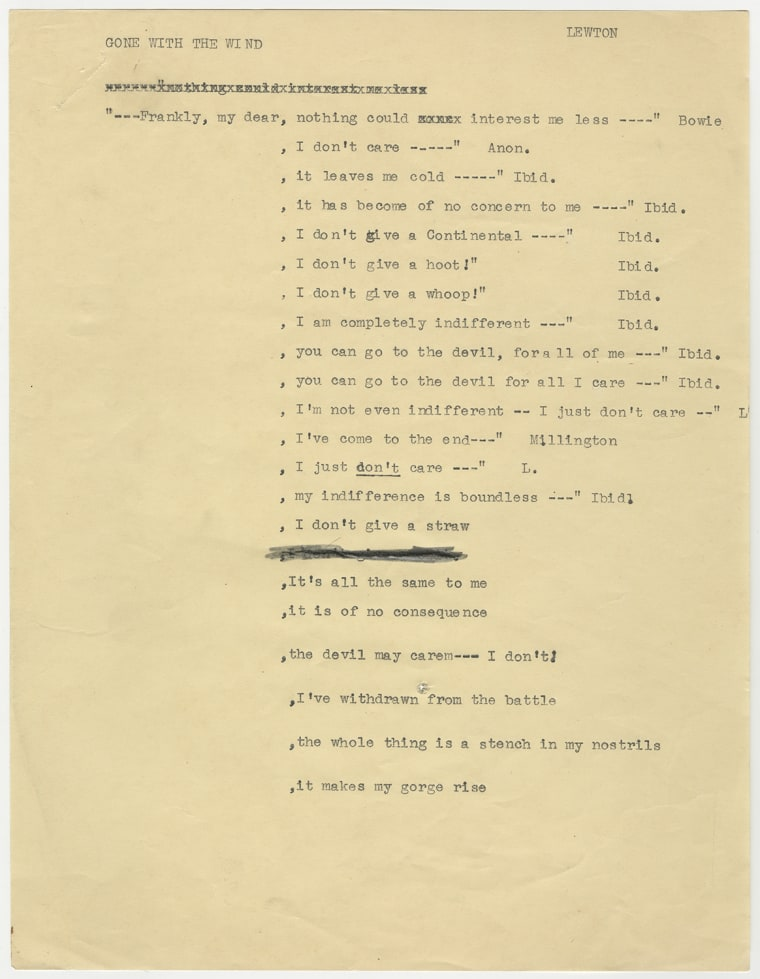 """Image: The list of alternative lines for """"Gone With the Wind's"""" end"""