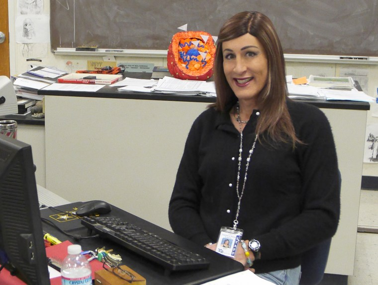 Karen Adell Scot in her classroom at Yosemite High School in Oakhurst, California.