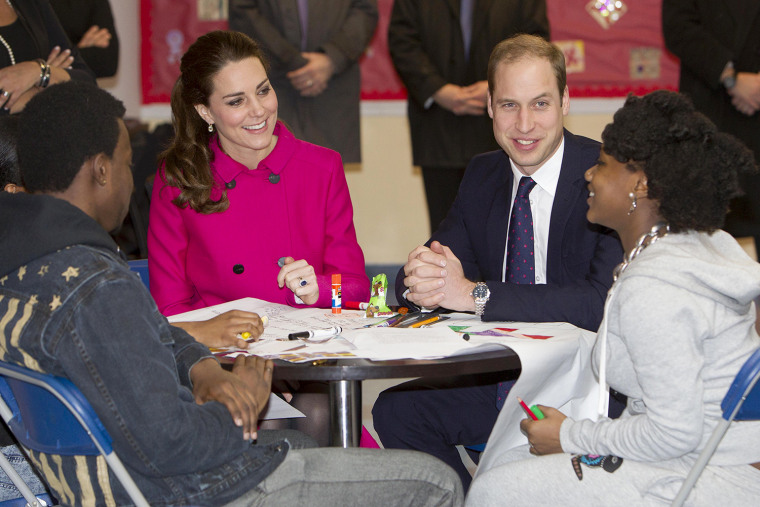 NEW YORK, NY - DECEMBER 9:  Prince William, Duke of Cambridge,(2nd R)  and Catherine, Duchess of Cambridge 2nd L) , talk with students Nya Hayer (R) a...