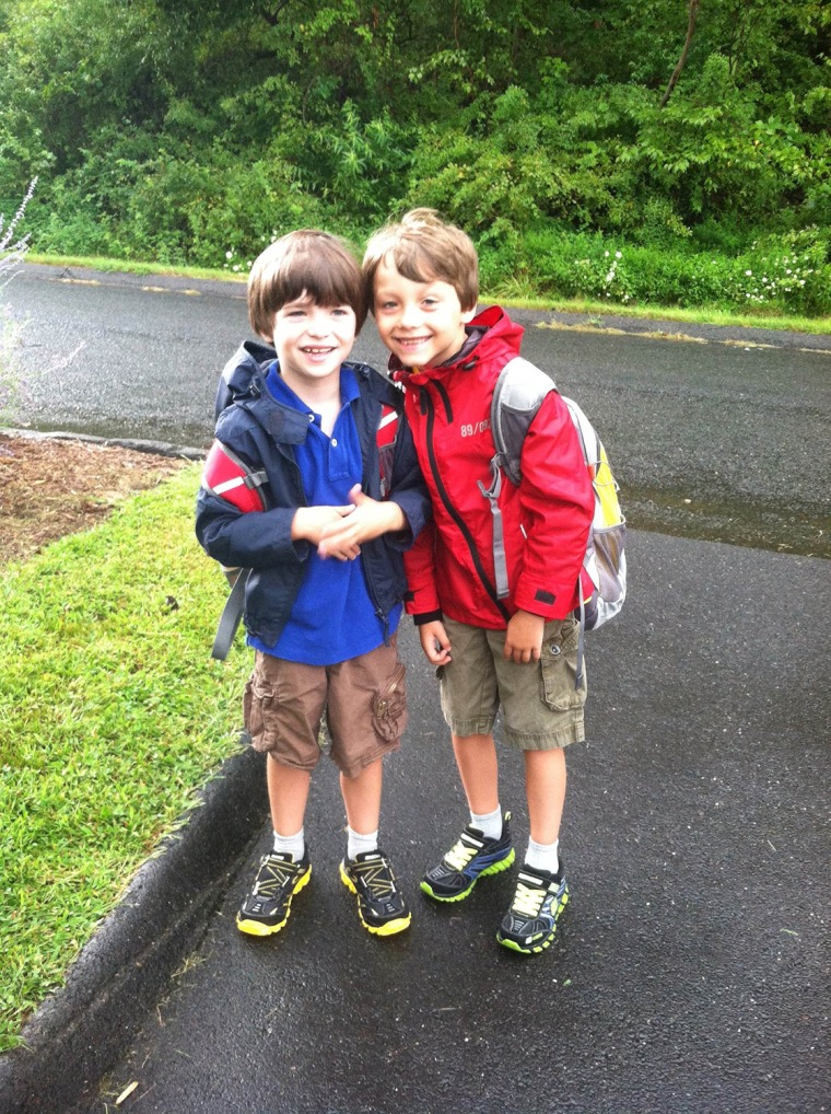 First day of school for the Hockley brothers in 2012