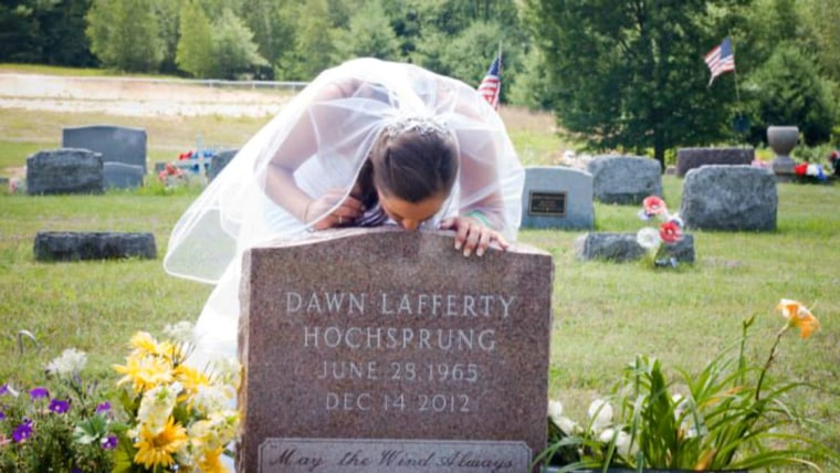 Erica Lafferty at mother's gravesite. Permission granted for web use within TODAY context.