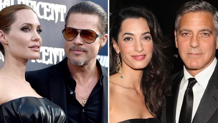 Angelina Jolie and Brad Pitt; Amal Alamuddin and George Clooney