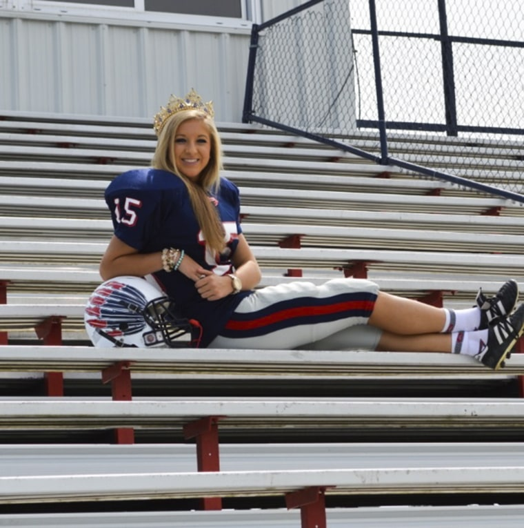 Mary Kate Smith, a senior at South Jones High School, in Mississippi, is this year's Homecoming Queen and a kicker for the varsity football team. Phot...