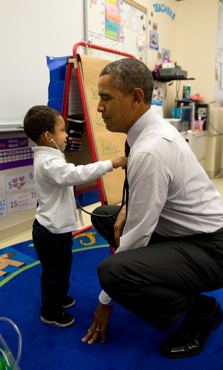 "March 4, 2014 ""The President was visiting a classroom at Powell Elementary School in Washington, D.C. A young boy was using a stethoscope during the c..."