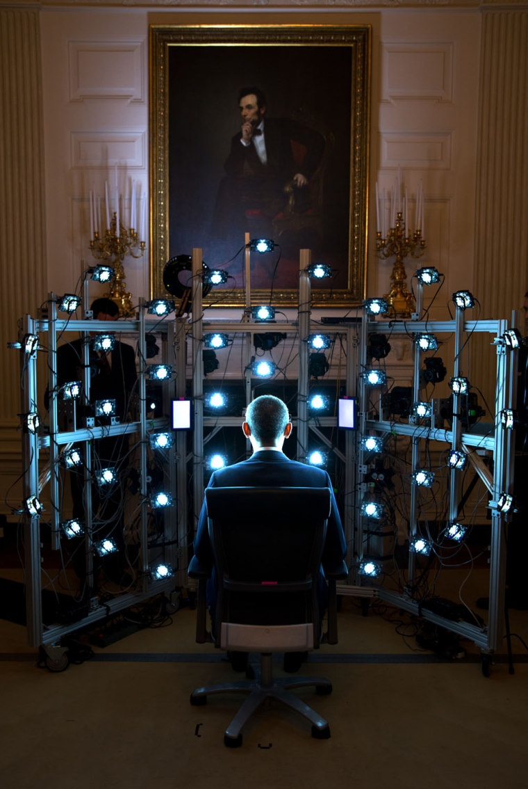 "June 9, 2014 ""The President sits for a 3D portrait being produced by the Smithsonian Institution. There were so many cameras and strobe lights flashin..."