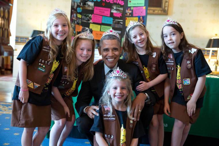 "May 24, 2014 ""This photograph was from the annual White House Science Fair. It shows the President posing with Girl Scout Troop 2612 in Tulsa, Oklahom..."