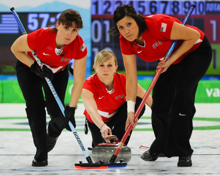Olympic curler Allison Pottinger, left, competes with teammates at the 2010 Olympic Games in Vancouver, B.C.