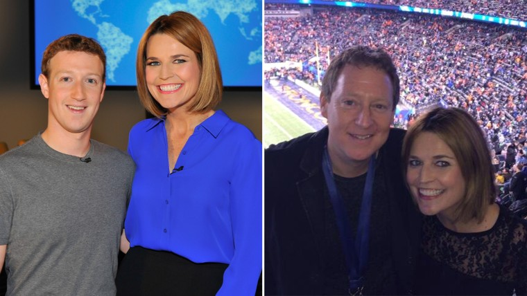 Can you tell the difference? Savannah Guthrie poses with Mark Zuckerberg and her fiance.