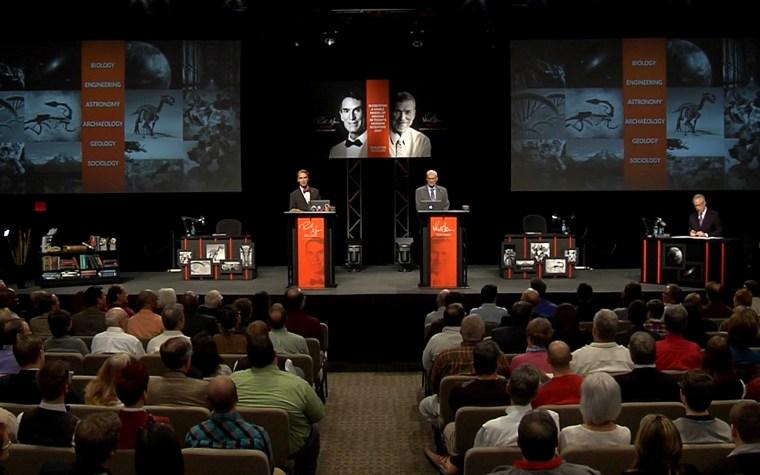 Bill Nye and Ken Ham prepare to debate at the Creation Museum.