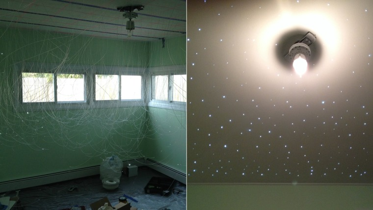 Soon-to-be dad Brian d'Arcy created a starry, fiber optic ceiling in his unborn son's nursery.
