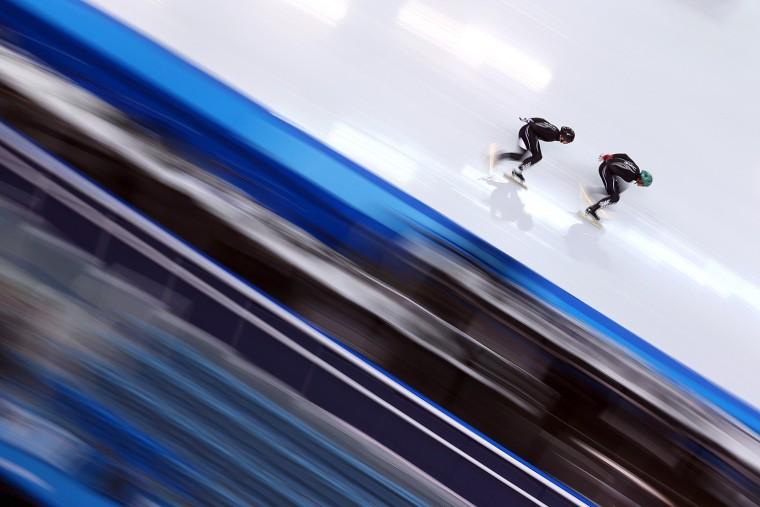 Short track speed skaters practice in Sochi