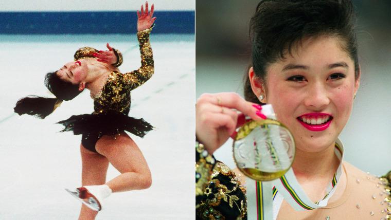 Kristi Yamaguchi winning gold for figure skating.