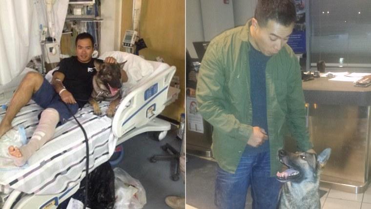 Calvin Aguilar and Nico the dog
